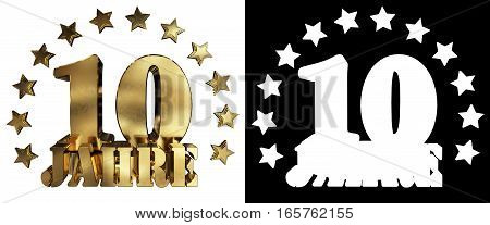 Golden digit ten and the word of the year decorated with stars. Translated from the German. 3D illustration