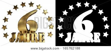 Golden digit six and the word of the year decorated with stars. Translated from the German. 3D illustration