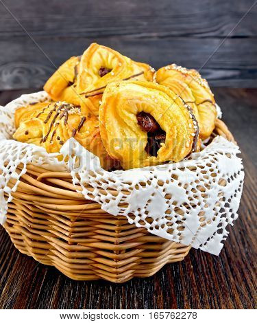 Cookies With Dates In Basket On Board