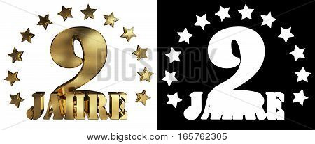 Golden digit nine and the word of the year decorated with stars. Translated from the German. 3D illustration