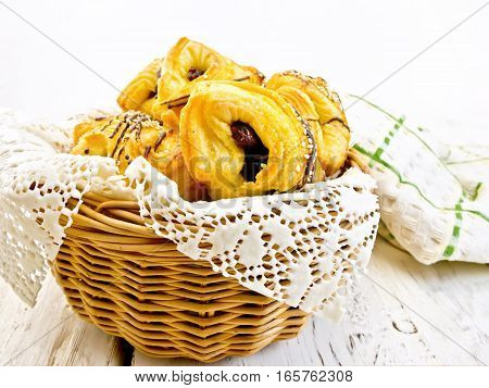 Cookies With Dates In Basket With Napkin On Board