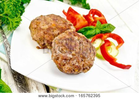 Cutlets Stuffed With Basil In Plate On Light Board