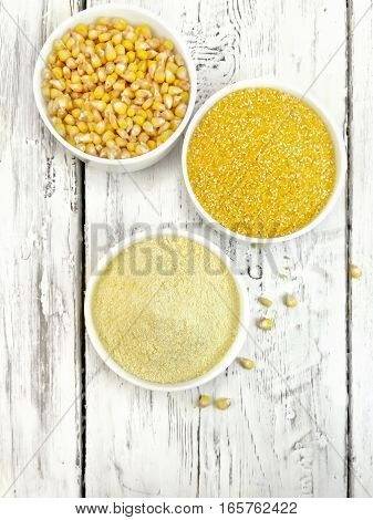 Flour And Grits Corn In Bowls On Board Top