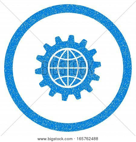 Rounded Global Options rubber seal stamp watermark. Icon symbol inside circle with grunge design and dirty texture. Unclean vector blue emblem.