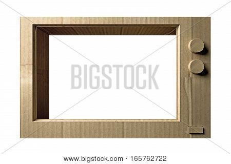3d illustration of a cardboard tv isolated on white background
