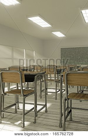 3d illustration of an empty interior classroom