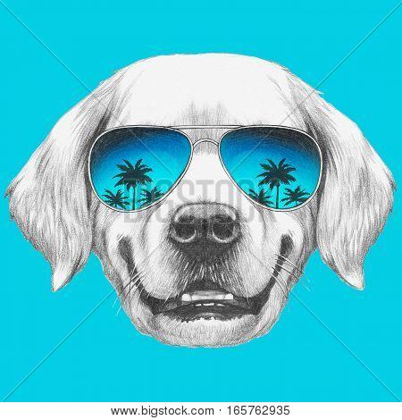 Portrait of Golden Retriever with mirror sunglasses. Hand drawn illustration.