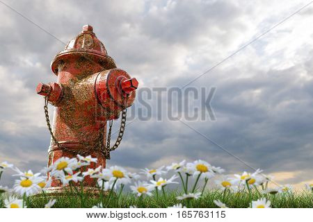 3d illustration of a rusty hydrant on green grass