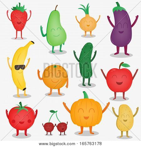 Cartoon fruits and vegetables. Funny food concept. Organic food. Vector illustration
