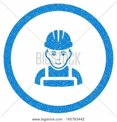 Rounded Happy Mechanic rubber seal stamp watermark. Icon symbol inside circle with grunge design and dust texture. Unclean vector blue emblem.