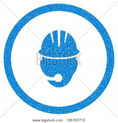 Rounded Industrial Operator rubber seal stamp watermark. Icon symbol inside circle with grunge design and dust texture. Unclean vector blue sticker.
