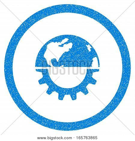 Rounded International Industry rubber seal stamp watermark. Icon symbol inside circle with grunge design and scratched texture. Unclean vector blue emblem.