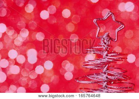 Metallic Modern Christmas Tree On Red Tint Light Bokeh Background, Xmas Holiday