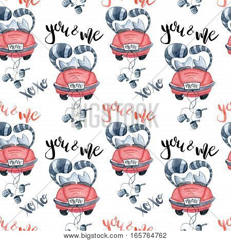 Valentine's Day greeting card template seamless pattern poster wrapping paper. Watercolor cats in just married red car and brush lettering you and me