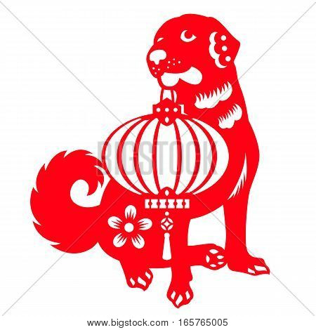 Red paper cut Dogs carrying Chinese lanterns zodiac symbols vector design