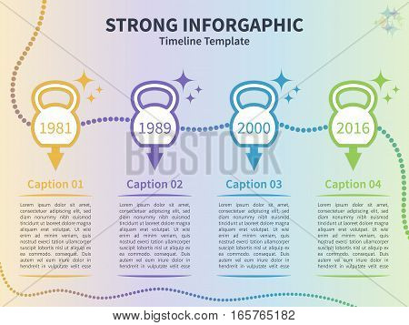 Vector infographic template. Timeline concept with kettlebell stylized elements on the colorful background.