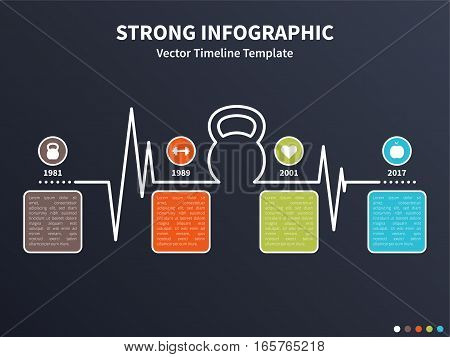 Vector infographic colorful template. Timeline concept with kettlebell stylized element and healthy lifestyle icons on the dark background.