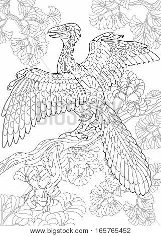 Stylized archeopteryx dinosaur fossil bird of the late Jurassic period. Freehand sketch for adult anti stress coloring book page with doodle and zentangle elements.