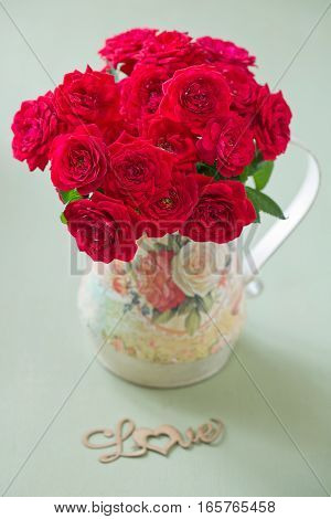 Beautiful red roses .Beautiful bouquet for a birthday .Congratulation with a flowers .