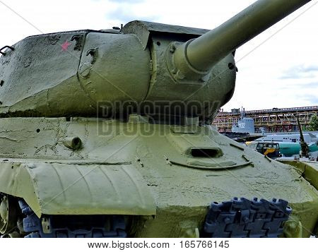 Upper Pyshma, Russia - July 02, 2016: Soviet Heavy Tank IS-2 mod. 1943 - exhibit of the  Museum of military equipment