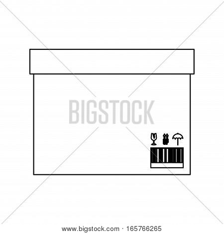 black silhouette contour sealed box with packing tape vector illustration