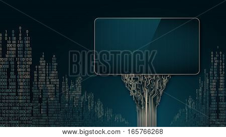 Abstract futuristic billboards as a printed circuit Board on the background of digital city