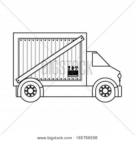 black silhouette contour transport truck with vagon vector illustration