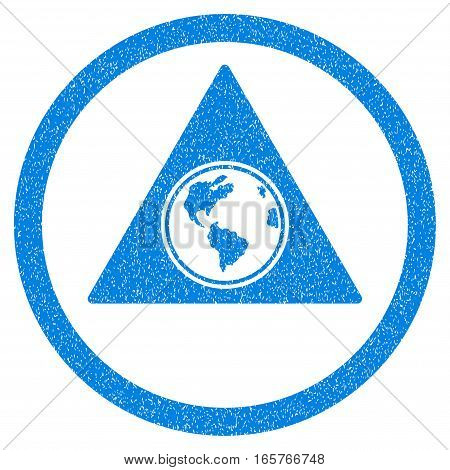 Rounded Terra Triangle rubber seal stamp watermark. Icon symbol inside circle with grunge design and dirty texture. Unclean vector blue emblem.