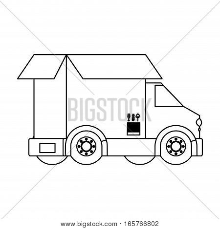black silhouette contour transport truck with opened box vector illustration