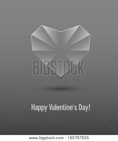 Valentines Day Card With Glass Heart.