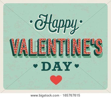 Happy Valentines Day Vintage Greeting Card.