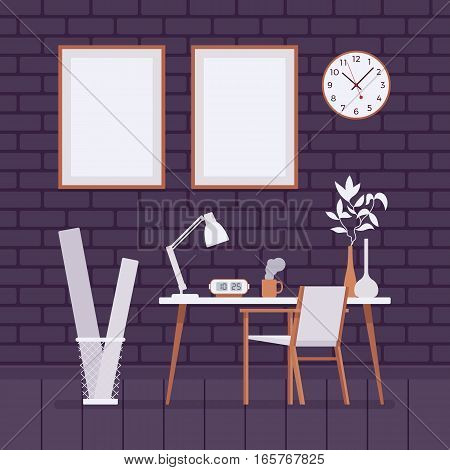 Retro interior with working desk, wallclocks, chair, waste bin, lamp, frames for copyspace and mockup, bohemian home office, peaceful, clean, organized and comfortable workplace at home