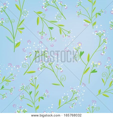 Floral seamless spring pattern in tender style - vector graphic illustration
