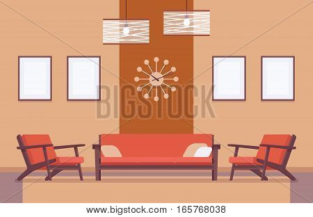 Retro interior, wall frame for copyspace and mockup, peacefull environment inviting living room, furnish for comfort, clean apartment, spacious for guests