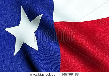 Waving Fabric Texture Of The Flag With Blue And Red Color Of Nation Texas, Nation Of The Usa