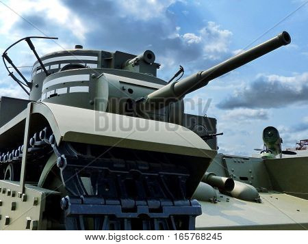 Upper Pyshma, Russia - July 02, 2016: Soviet tank T-35 arr. 1933 - first Soviet heavy tank. Exhibit of the Museum of military equipment