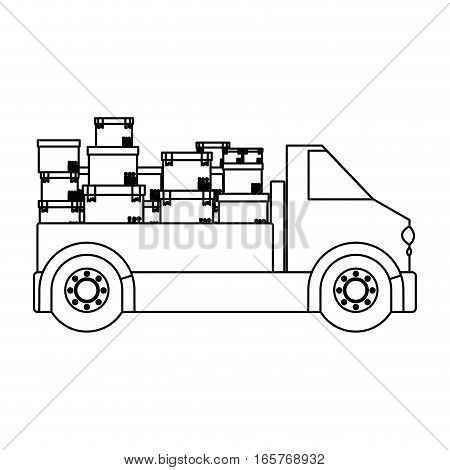 black silhouette contour transport truck with boxes vector illustration