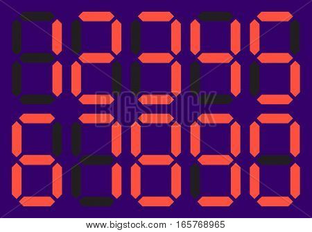 Dial with a set of numbers . Red LED digital number - 1, 2, 3, 4, 5, 6, 7, 8, 9. Electronic figures. Vector illustration