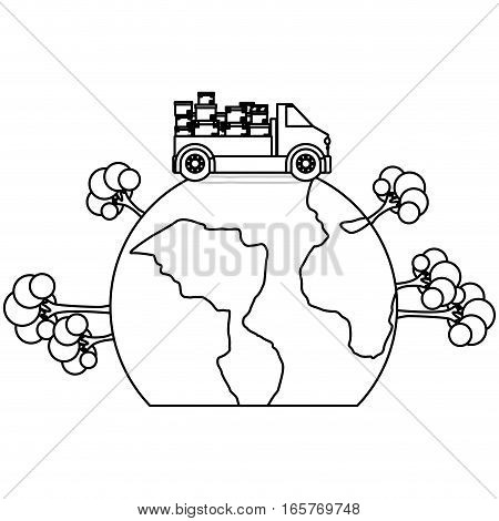 black silhouette contour transport truck with boxes over the planet vector illustration
