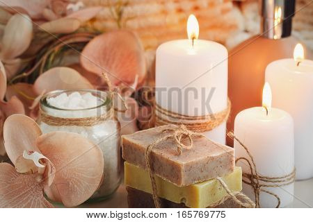 Composition of spa treatment with homemade soap. Spa concept.