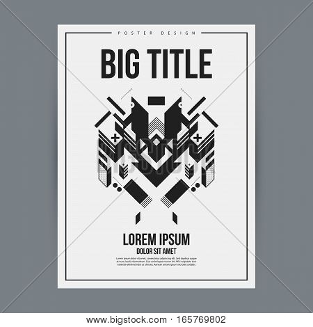 Poster Design Template With Abstract Geometric Element. Useful For Book And Magazine Covers And Adve