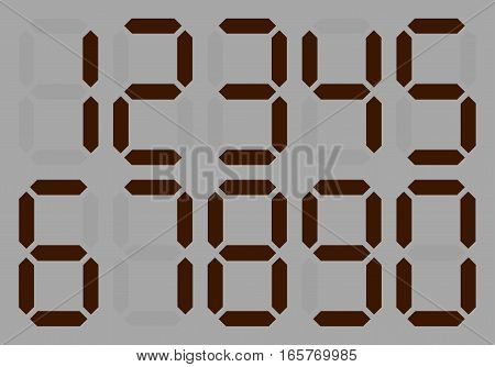 Dial with a set of numbers . Black - white. shades of gray LED digital number - Set 1, 2, 3, 4, 5, 6 7 8 9 Electronic figures Vector illustration