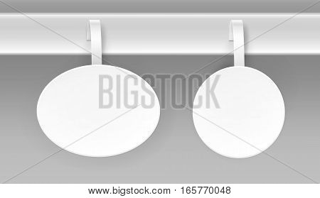 Vector Set of Blank White Round Oval Papper Plastic Advertising Price Wobbler Front view Isolated on Background