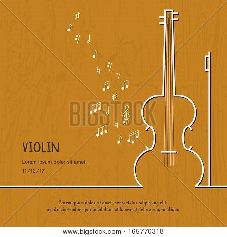 Abstract music violin cover. Graphic vector poster illustration. Modern cute card line background. Sound concept. Invitation, packaging element