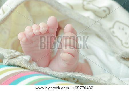 Baby Newborn Feet. New Born Kid Foot, Family Love Concept
