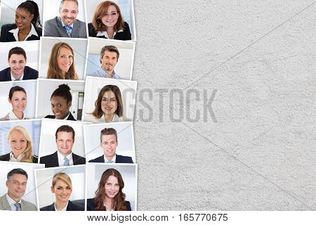 Collage Of Smiling Candidates Photos Selected For Hiring. People Diversity Concept