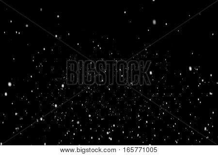 Christmas Black Background With Snowflakes Falling Snow From Top