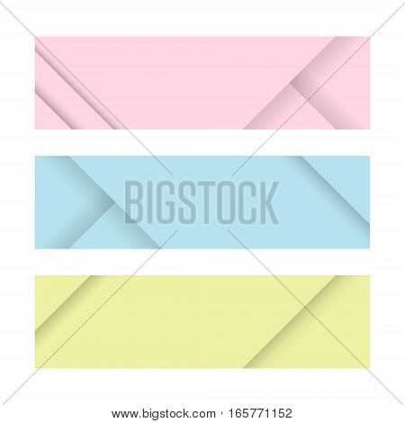 Material design banners. Set of modern colorful horizontal vector banners. Pink blue and yellow page headers. Can be used as a trendy business template or in a web design. Vector illustration.