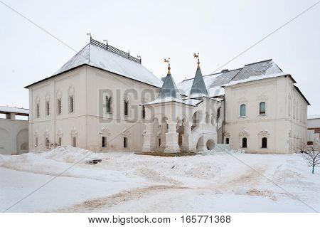 Rostov Veliky / Russia - DECEMBER 22: Building of Gosudarskie Khoromy (King's House) in Kremlin on December 22 2016 in Rostov Veliky. Rostov Veliky is oldest in Russia tourist center of Golden Ring.