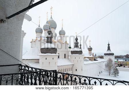 Rostov Veliky / Russia - DECEMBER 22: Voskresenskaya (Nadvratnaya) Cathedral in Kremlin on December 22 2016 in Rostov Veliky. Rostov Veliky is town in Yaroslavl Oblast Russia.
